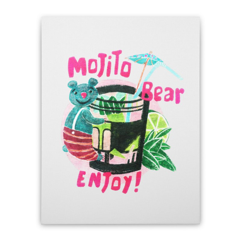 Mojito bear Home Stretched Canvas by Bottone magliette