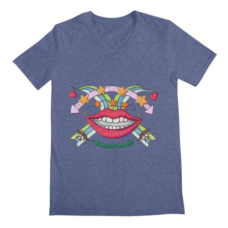 Psychedelic mouth Men's Regular V-Neck by Bottone magliette