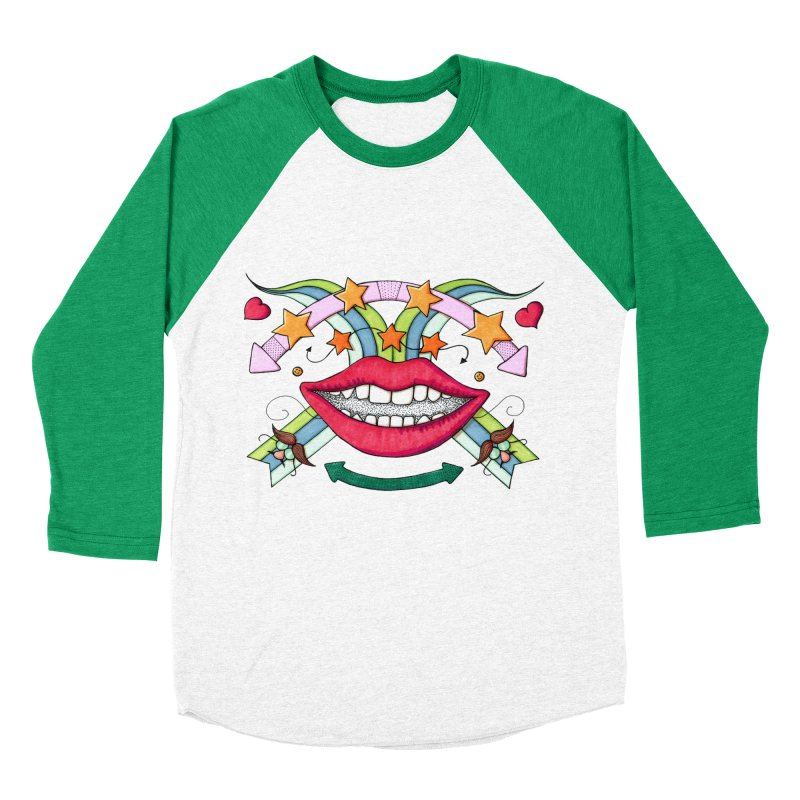 Psychedelic mouth Women's Baseball Triblend T-Shirt by Bottone magliette