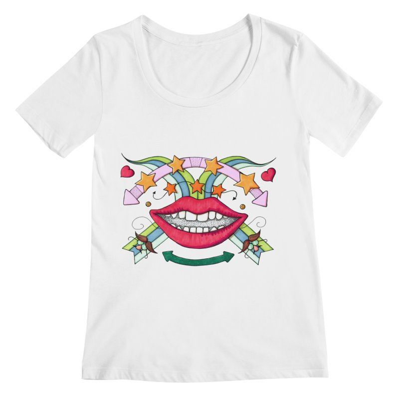 Psychedelic mouth Women's Regular Scoop Neck by Bottone magliette