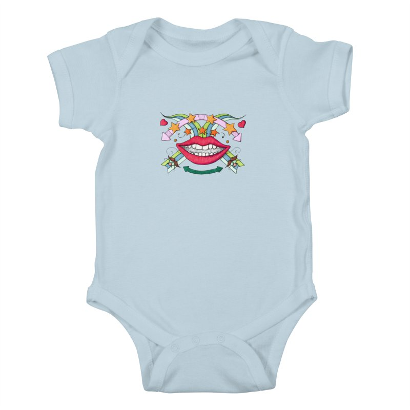 Psychedelic mouth Kids Baby Bodysuit by Bottone magliette