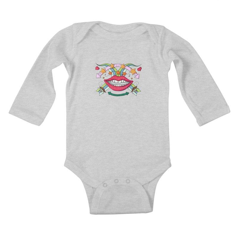 Psychedelic mouth Kids Baby Longsleeve Bodysuit by Bottone magliette