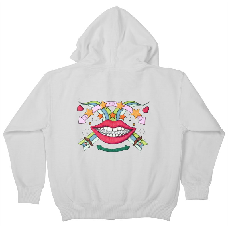 Psychedelic mouth Kids Zip-Up Hoody by Bottone magliette