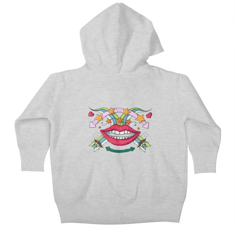 Psychedelic mouth Kids Baby Zip-Up Hoody by Bottone magliette