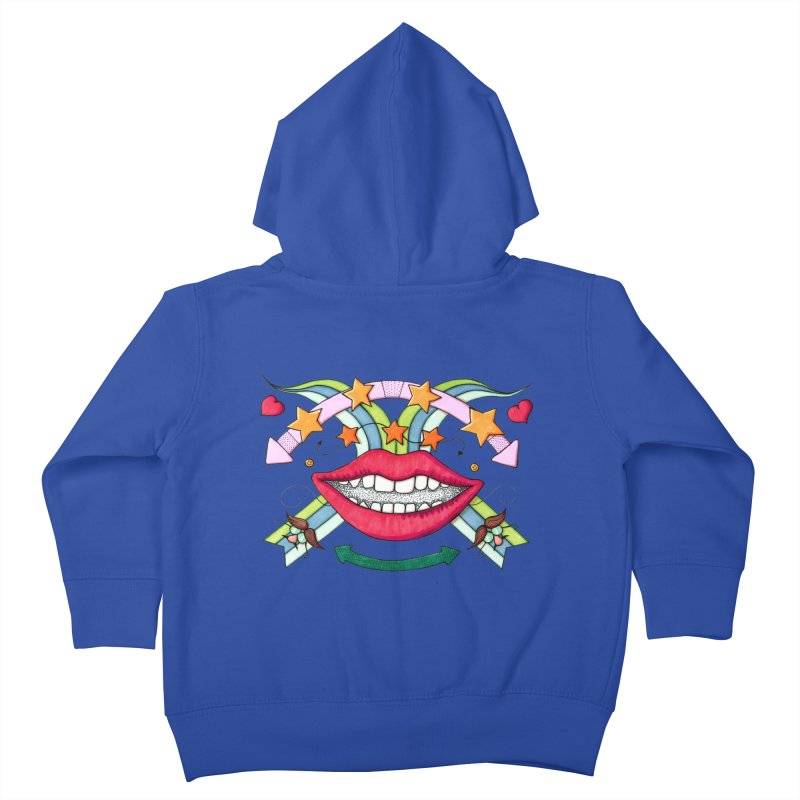 Psychedelic mouth Kids Toddler Zip-Up Hoody by Bottone magliette