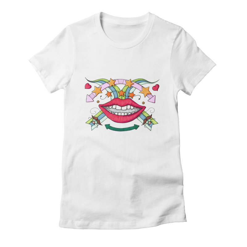 Psychedelic mouth Women's Fitted T-Shirt by Bottone magliette
