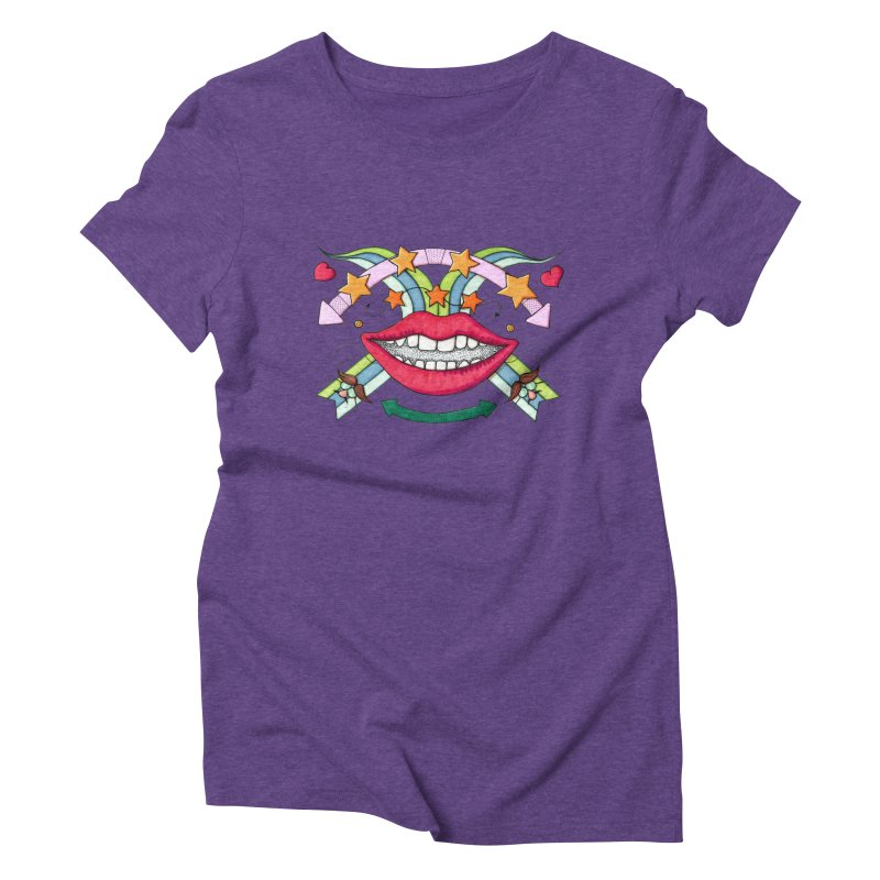 Psychedelic mouth Women's Triblend T-shirt by Bottone magliette
