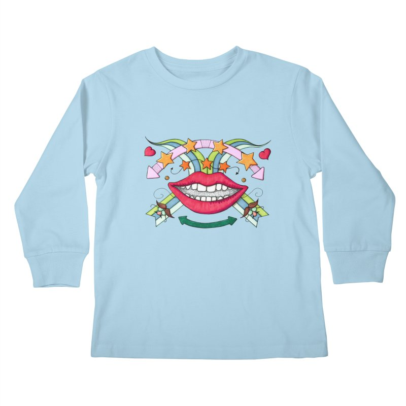 Psychedelic mouth Kids Longsleeve T-Shirt by Bottone magliette