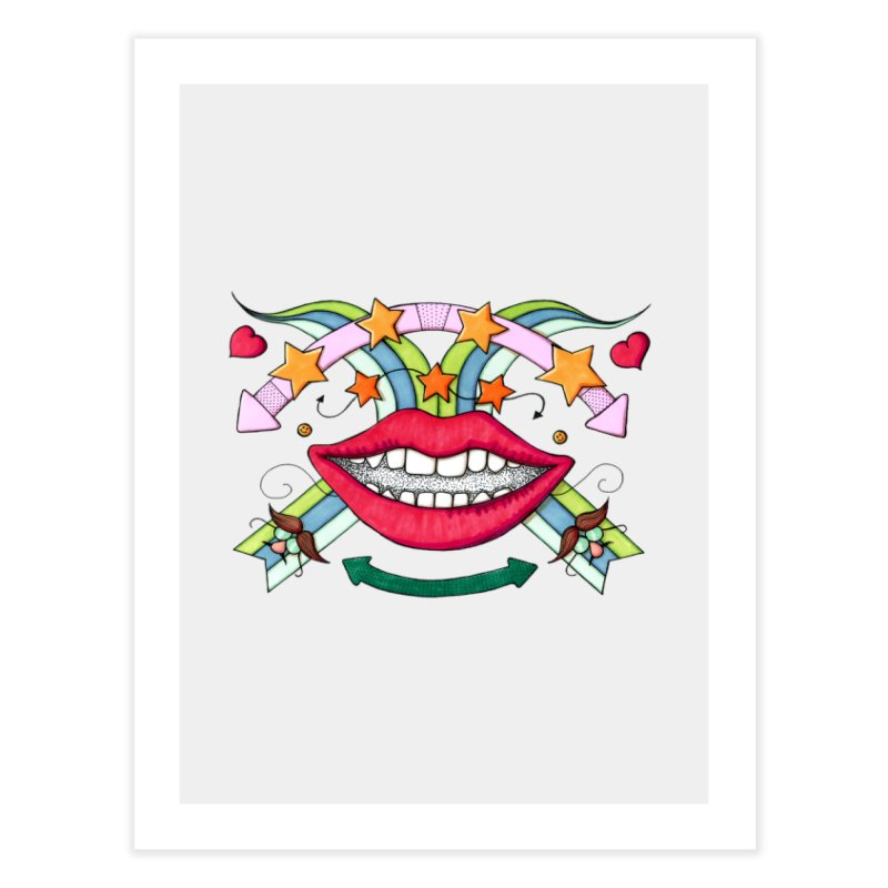 Psychedelic mouth Home Fine Art Print by Bottone magliette