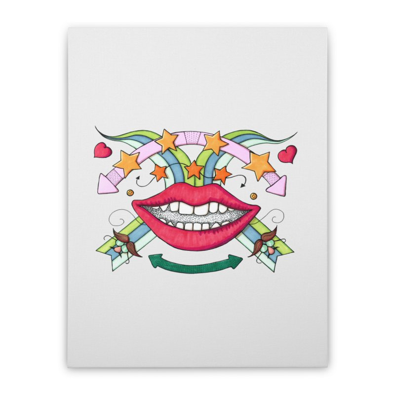 Psychedelic mouth Home Stretched Canvas by Bottone magliette