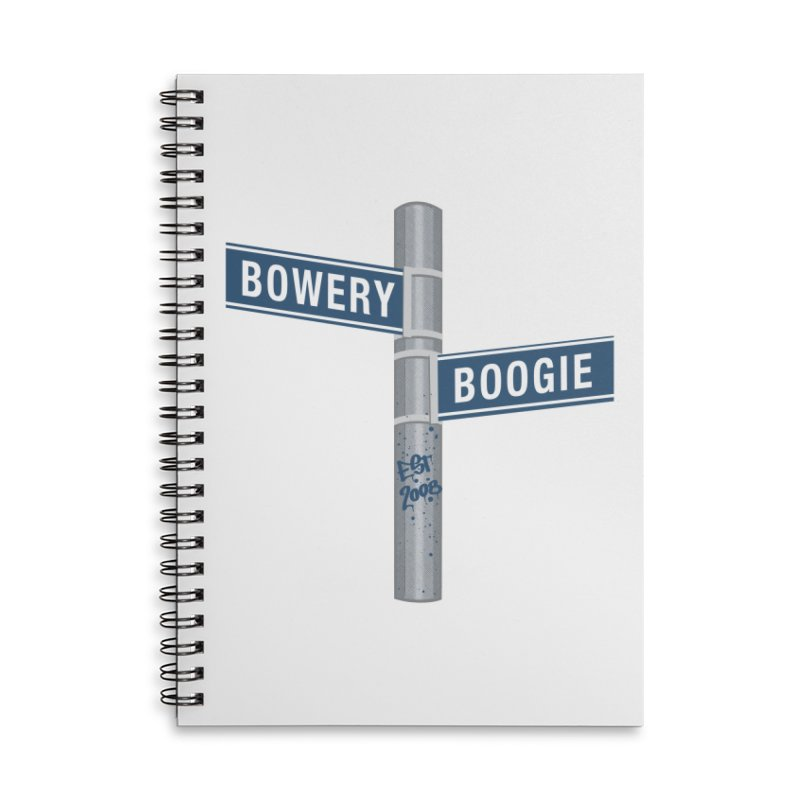 Boogie Street Sign Accessories Lined Spiral Notebook by Bowery Boogie Merch Shop