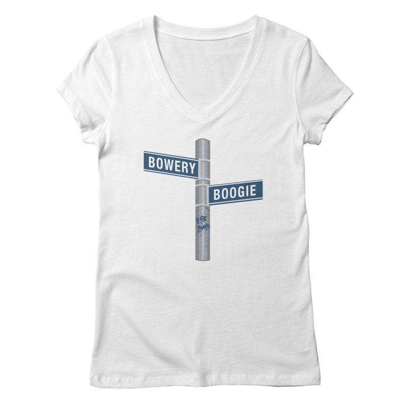 Boogie Street Sign Women's V-Neck by Bowery Boogie Merch Shop