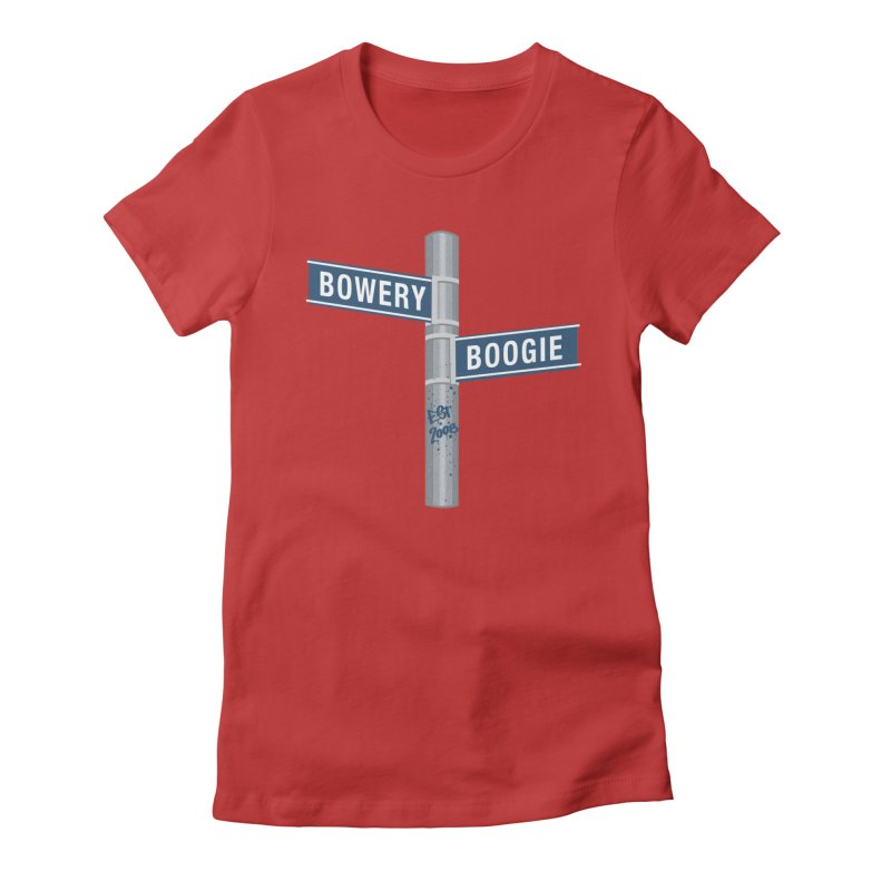 Boogie Street Sign Women's Fitted T-Shirt by Bowery Boogie Merch Shop