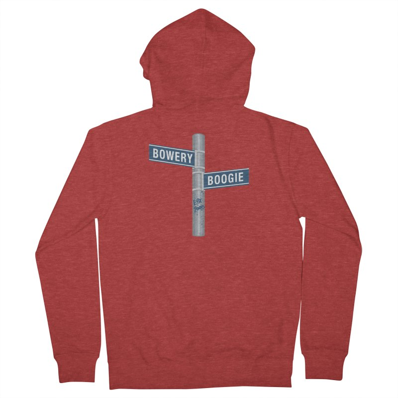 Boogie Street Sign Men's French Terry Zip-Up Hoody by Bowery Boogie Merch Shop