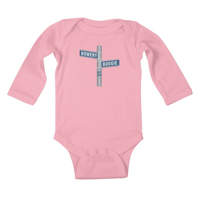 Boogie Street Sign in Kids Baby Longsleeve Bodysuit Light Pink by Bowery Boogie Merch Shop