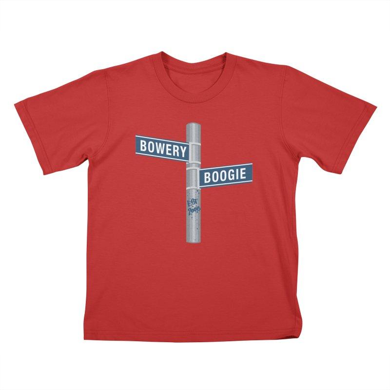 Boogie Street Sign Kids T-Shirt by Bowery Boogie Merch Shop