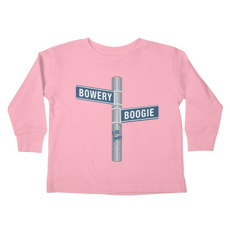 Boogie Street Sign Kids Toddler Longsleeve T-Shirt by Bowery Boogie Merch Shop