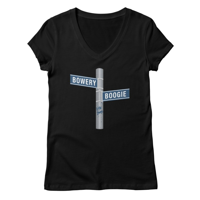 Boogie Street Sign Women's V-Neck by Bowery Boogie Merch Shop