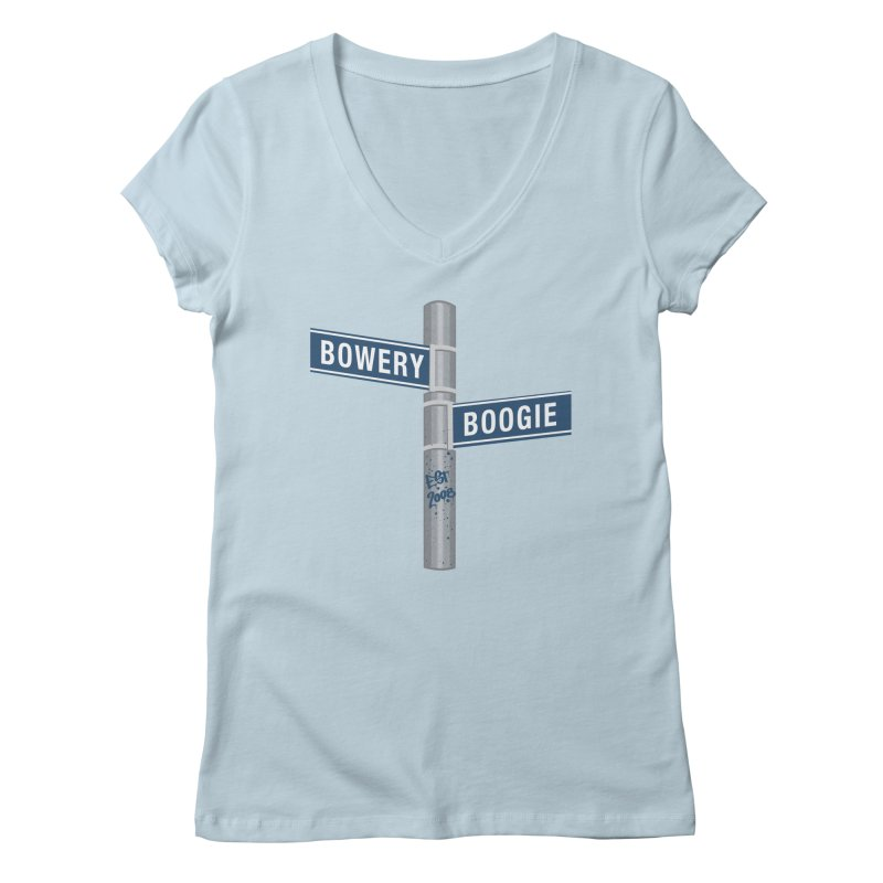 Boogie Street Sign Women's Regular V-Neck by Bowery Boogie Merch Shop