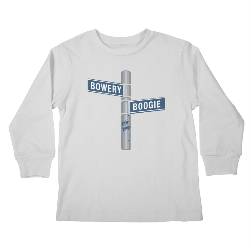 Boogie Street Sign Kids Longsleeve T-Shirt by Bowery Boogie Merch Shop