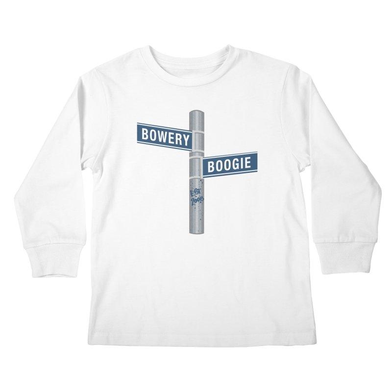 Boogie Street Sign Kids Longsleeve T-Shirt by Bowery Boogie Merch Shop