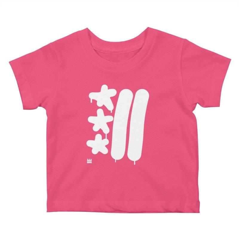 Glyph Drip white on color Kids Baby T-Shirt by Boy Vs Dragon