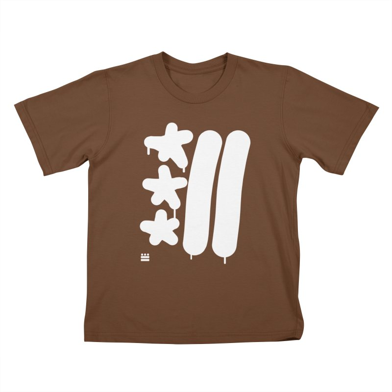 Glyph Drip white on color Kids T-Shirt by Boy Vs Dragon