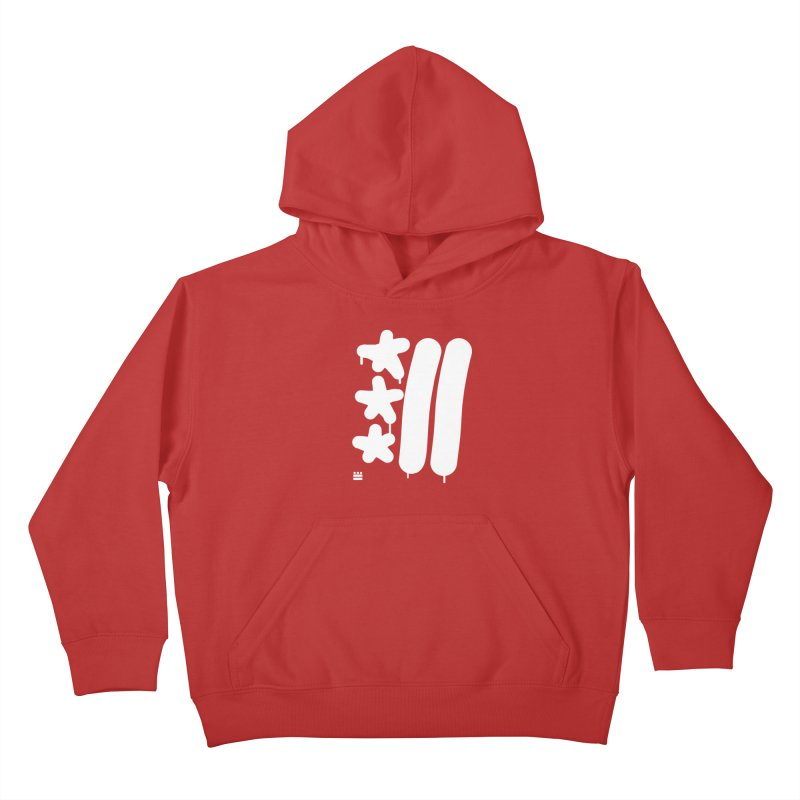 Glyph Drip white on color Kids Pullover Hoody by Boy Vs Dragon