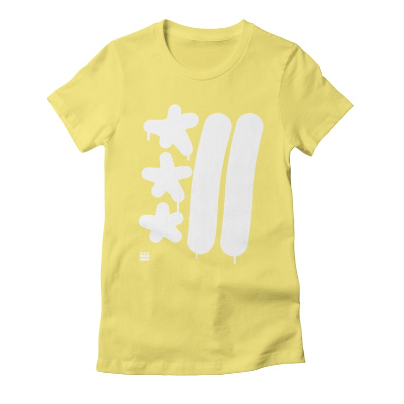 Glyph Drip white on color Women's Fitted T-Shirt by Boy Vs Dragon