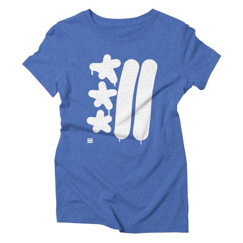 Glyph Drip white on color Women's Triblend T-Shirt by Boy Vs Dragon