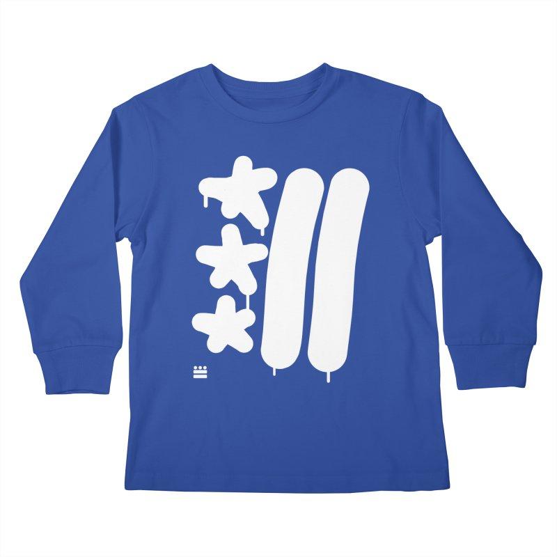 Glyph Drip white on color Kids Longsleeve T-Shirt by Boy Vs Dragon