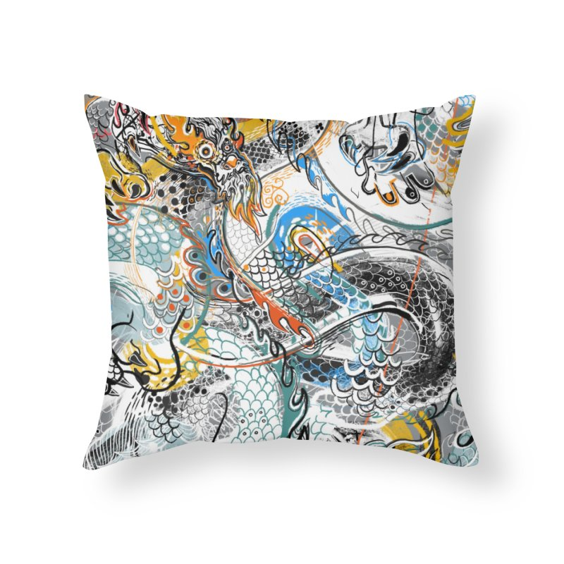 Dragon Block1 Home Throw Pillow by Boy Vs Dragon