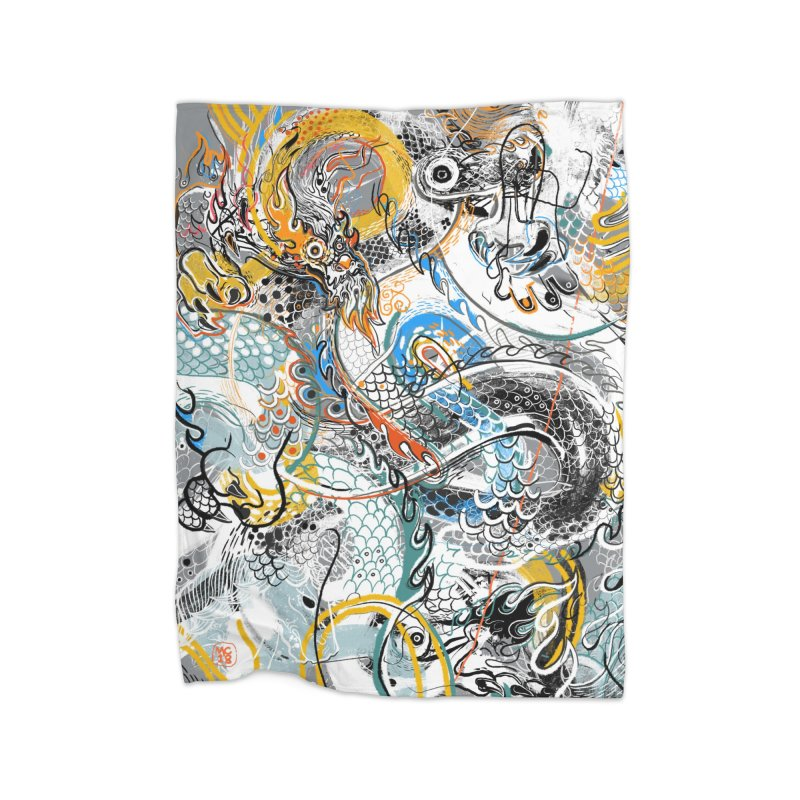 Dragon Block1 Home Fleece Blanket Blanket by Boy Vs Dragon