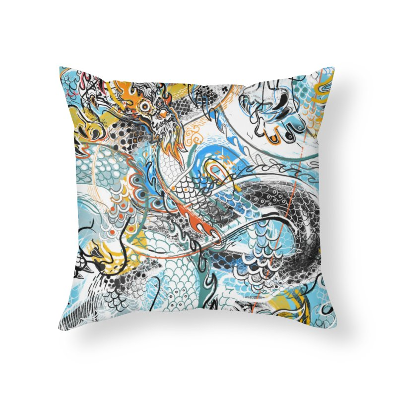 Dragon Block 2 Home Throw Pillow by Boy Vs Dragon