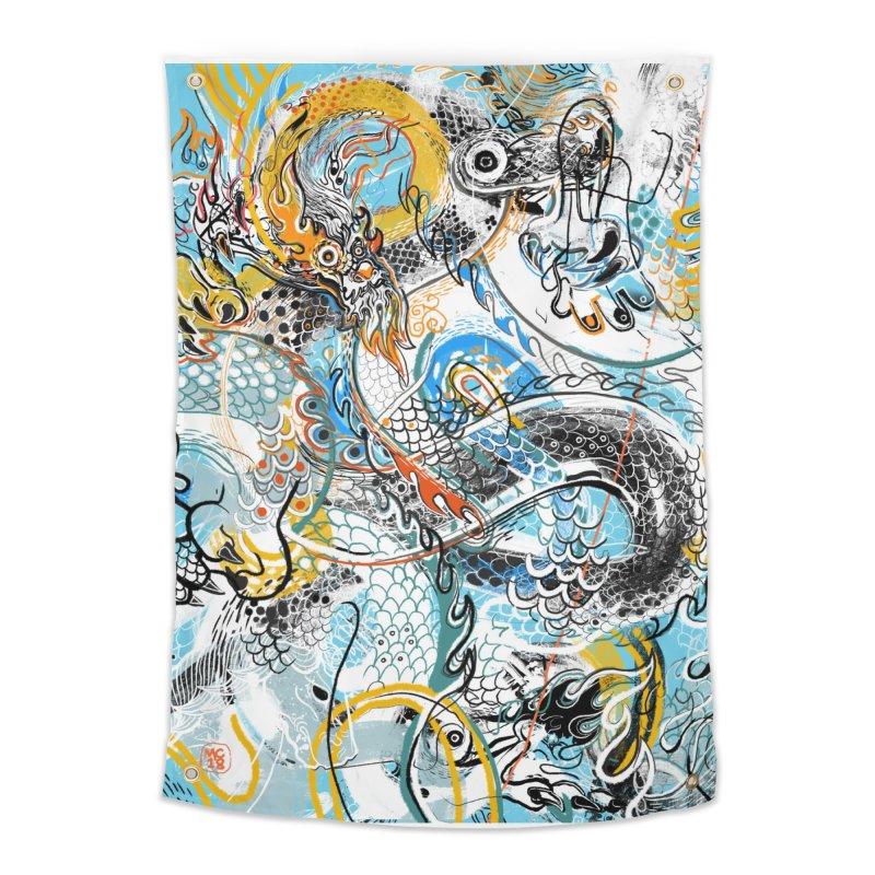 Dragon Block 2 Home Tapestry by Boy Vs Dragon