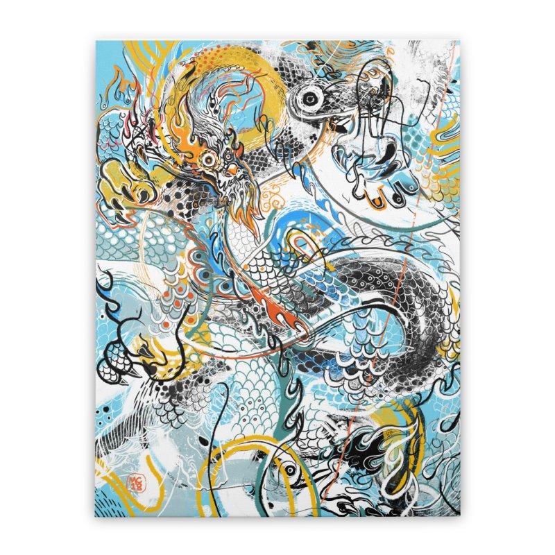 Dragon Block 2 Home Stretched Canvas by Boy Vs Dragon