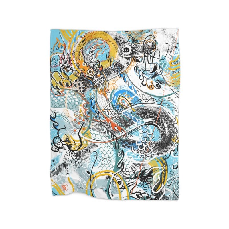 Dragon Block 2 Home Fleece Blanket Blanket by Boy Vs Dragon