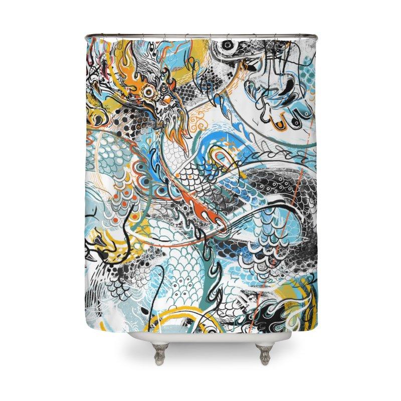 Dragon Block 2 Home Shower Curtain by Boy Vs Dragon