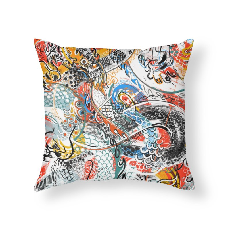 Dragon Block 3 Home Throw Pillow by Boy Vs Dragon