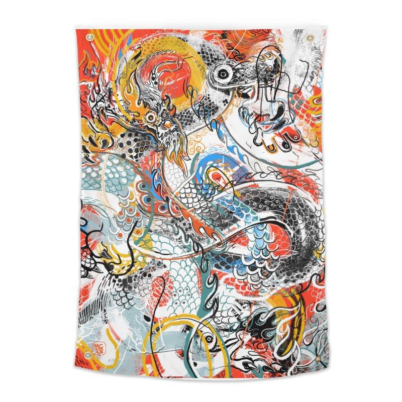 Dragon Block 3 Home Tapestry by Boy Vs Dragon