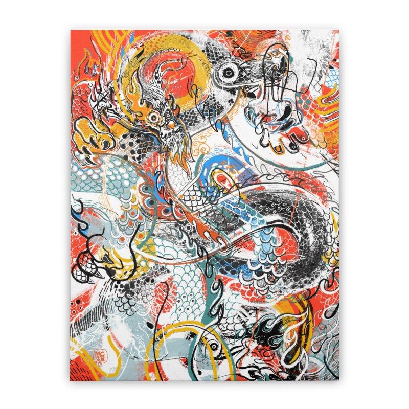 Dragon Block 3 Home Stretched Canvas by Boy Vs Dragon