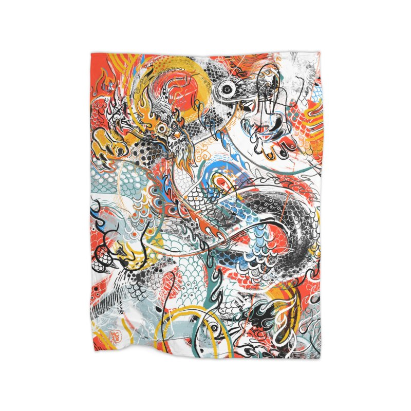 Dragon Block 3 Home Fleece Blanket Blanket by Boy Vs Dragon