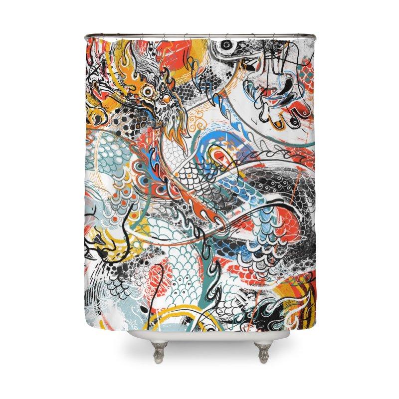 Dragon Block 3 Home Shower Curtain by Boy Vs Dragon