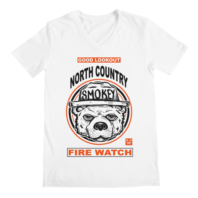 North Country Fire Watch Men's V-Neck by Brad Leiby Art
