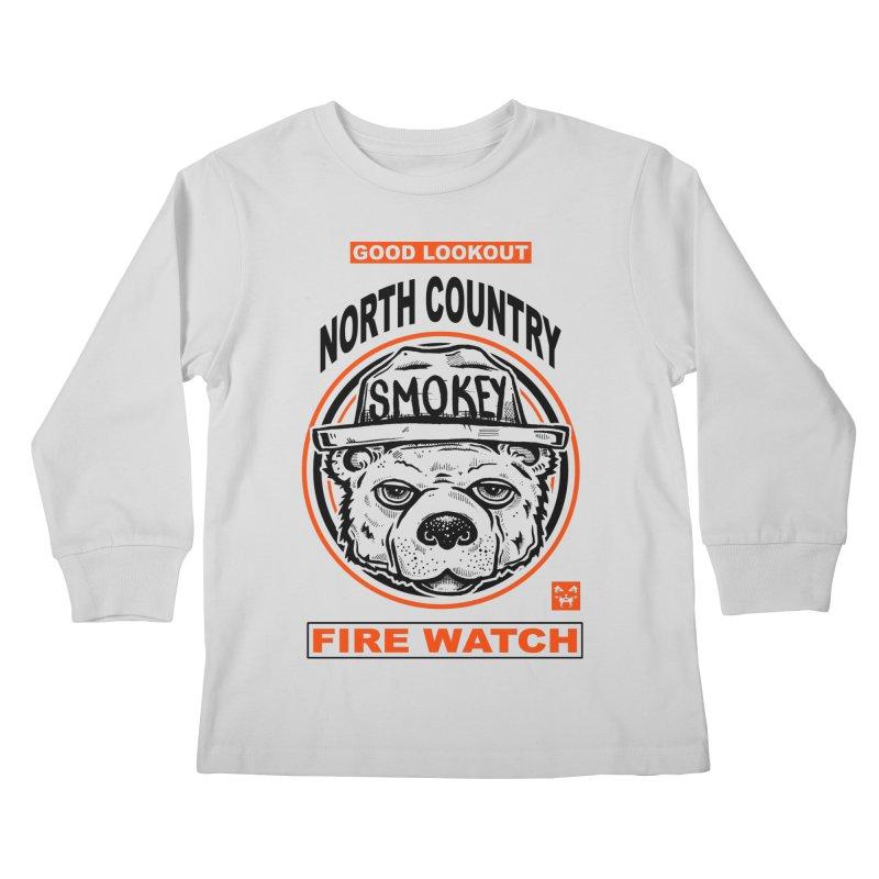 North Country Fire Watch Kids Longsleeve T-Shirt by Brad Leiby Art