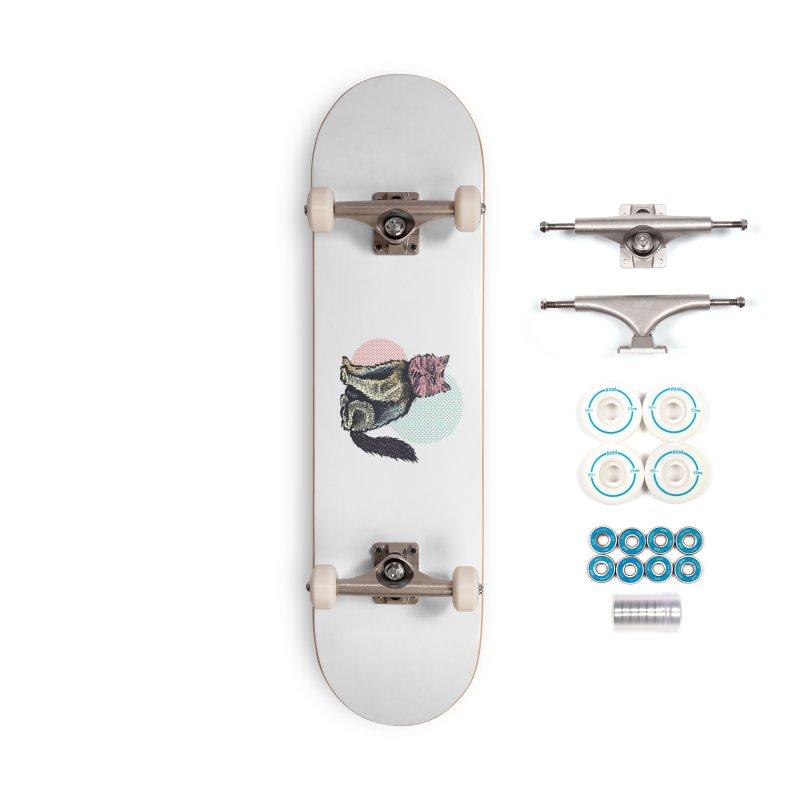 Cat Halftones Accessories Skateboard by Brad Leiby Art