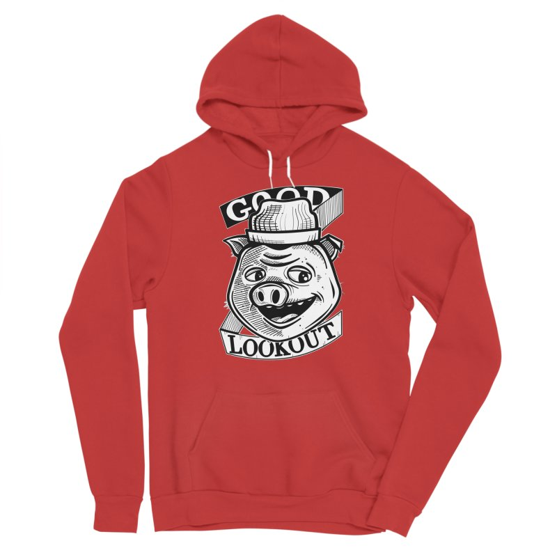 Good Lookout Pig White Men's Pullover Hoody by Brad Leiby Art