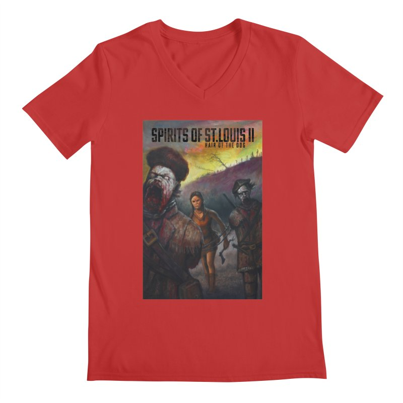 Spirits of St. Louis II - Zombie Lewis and Clark with Sacagawea Men's Regular V-Neck by Brain Cloud Comics' Artist Shop for Cool T's