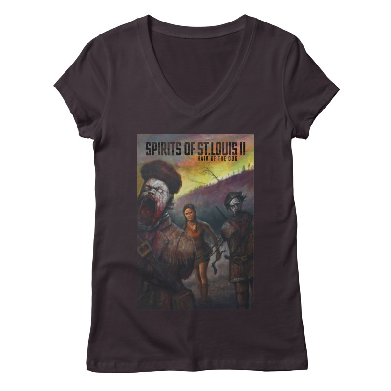 Spirits of St. Louis II - Zombie Lewis and Clark with Sacagawea Women's Regular V-Neck by Brain Cloud Comics' Artist Shop for Cool T's