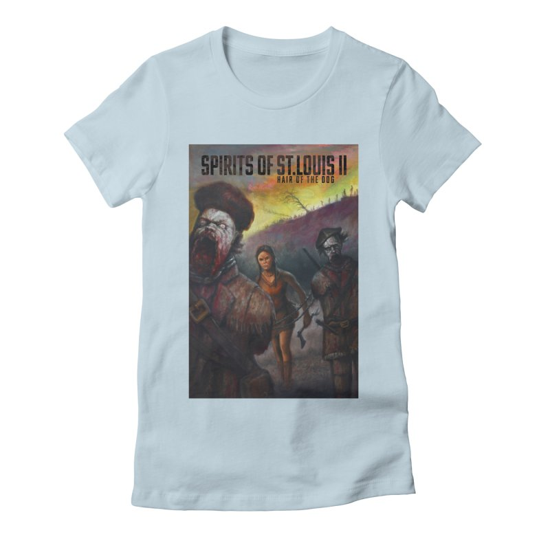 Spirits of St. Louis II - Zombie Lewis and Clark with Sacagawea Women's Fitted T-Shirt by Brain Cloud Comics' Artist Shop for Cool T's